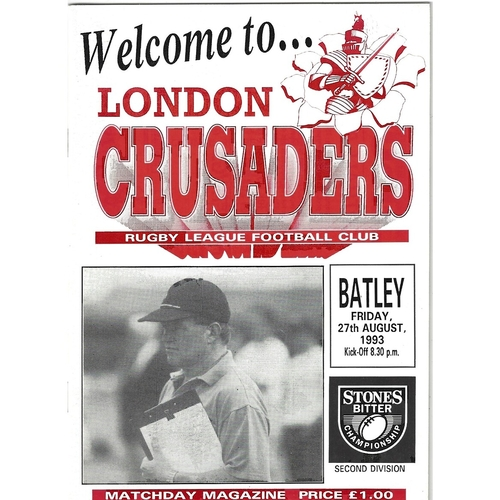 1993/94 London Crusaders v Batley Rugby League programme