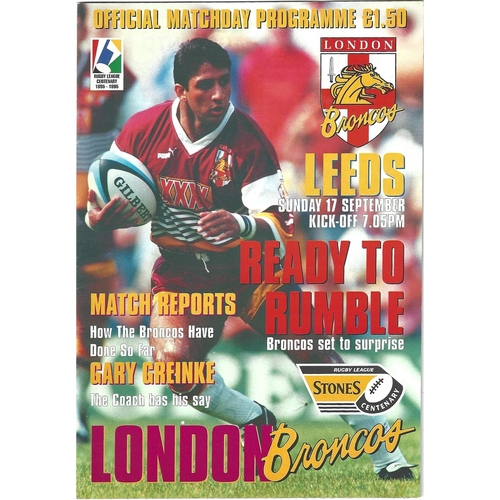 London Crusaders/London Broncos Home Rugby League Programmes
