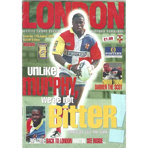 1996 London Broncos v Wigan Rugby League programme