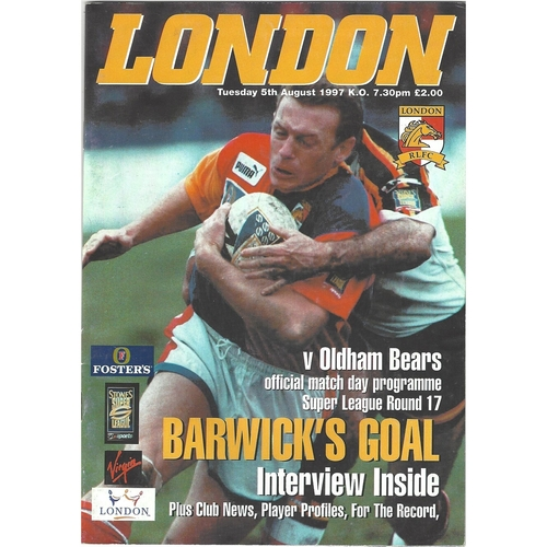 1997 London Broncos v Oldham Bears Rugby League programme