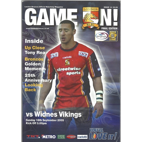 2005 London Broncos v Widnes Vikings Rugby League programme & Match Ticket