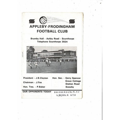 Appleby Frodingham v Lincoln United Vase Reply football programme no date