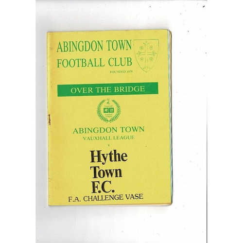 Abingdon v Hythe Town Vase Football Programme 1989/90