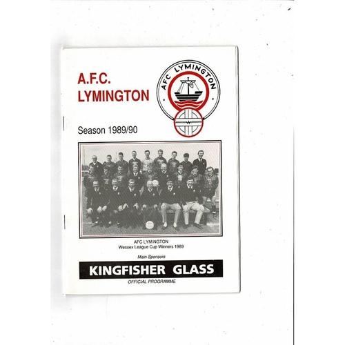 A.F.C Lymington v Easington Sports Vase Football Programme 1989/90