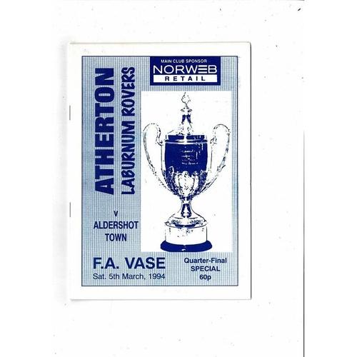 Atherton L.R V Aldershot Vase Football Programme 1993/94