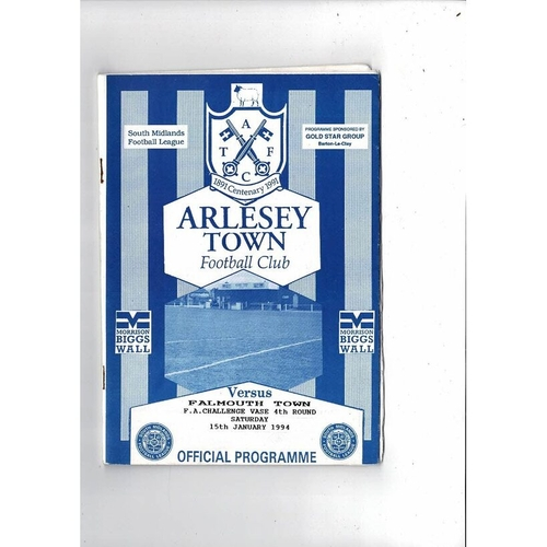 Arlesey Town v Falmouth Town Vase Football Programme 1993/94