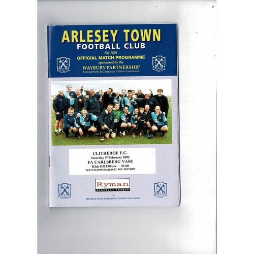 Arlesey Town v Clitheroe Vase Football Programme 2002/03