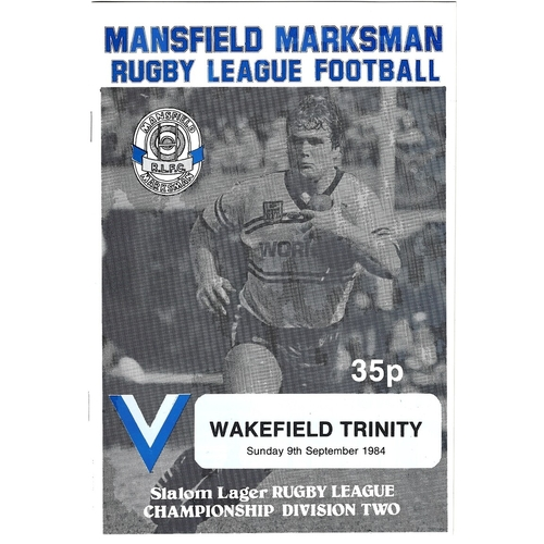 1984/85 Mansfield Marksman v Rugby League programme