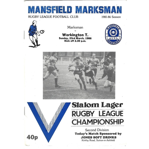 1986/87 Mansfield Marksman v Workington Town Rugby League programme