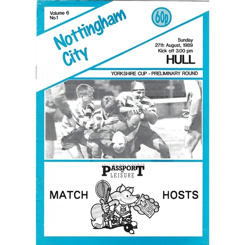 1989/90 Nottingham City v Hull Yorkshire Cup Preliminary Round Rugby League programme