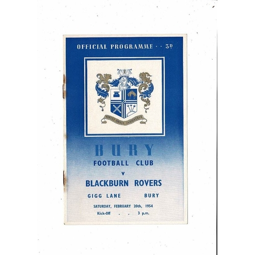 1953/54 Bury v Blackburn Rovers Football Programme