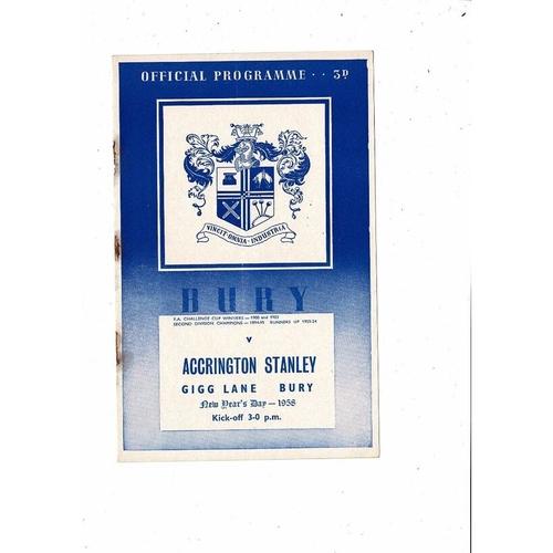 1957/58 Bury v Accrington Stanley Football Programme