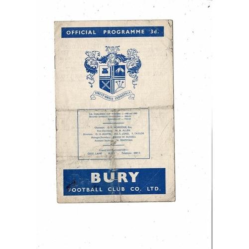 1959/60 Bury v Bolton Wanderers FA Cup Football Programme