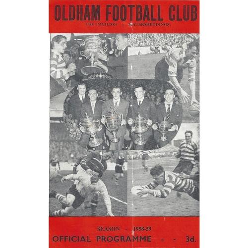 1958/59 Oldham v Hunslet Rugby League programme