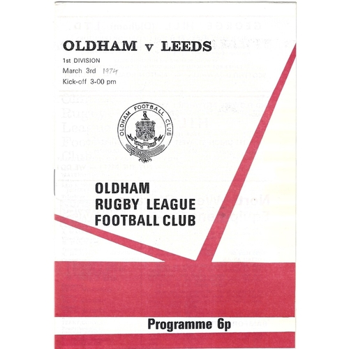 Oldham/Oldham Bears Home Rugby League Programmes