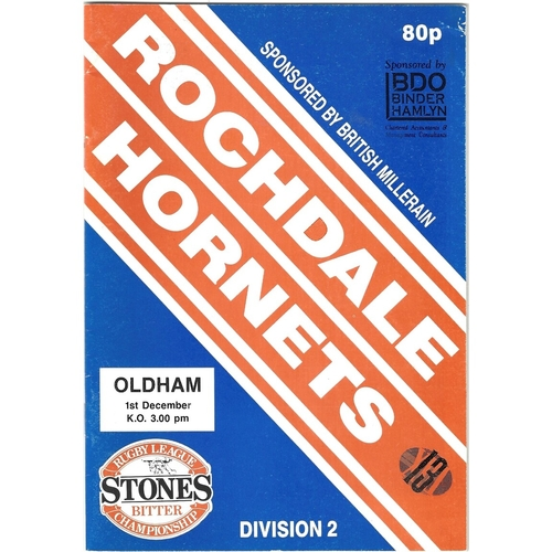 1991/92 Rochdale Hornets v Oldham Rugby League programme