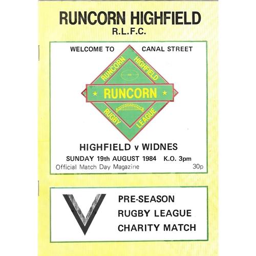 Runcorn Highfield/Highfield Home Rugby League Programmes