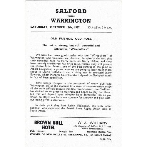 1957/58 Salford v Warrington Rugby League programme