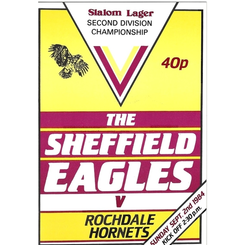 1984/85 Sheffield Eagles v Rochdale Hornets Rugby League programme