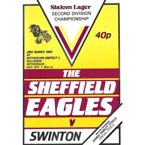 1984/85 Sheffield Eagles v Swinton Rugby League programme