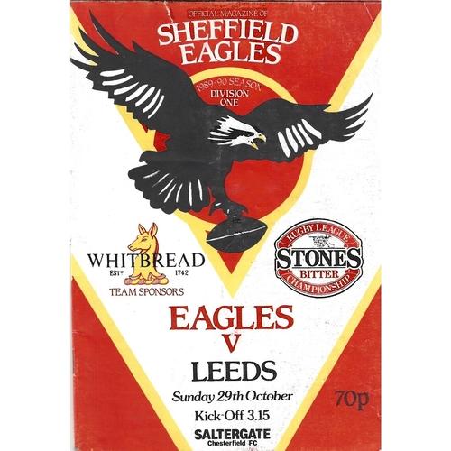 1989/90 Sheffield Eagles v Leeds Rugby League programme
