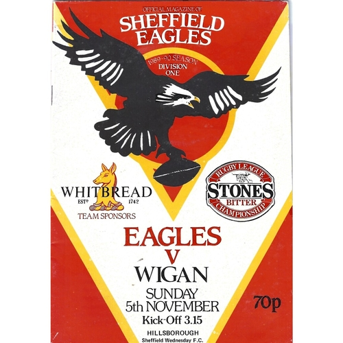 1989/90 Sheffield Eagles v Wigan Rugby League programme