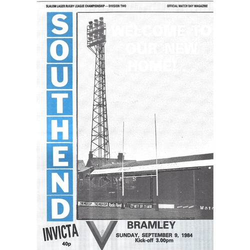 Southend Invicta Home Rugby League Programmes