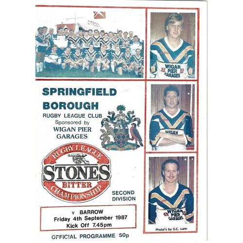 1987/88 Springfield Borough v Barrow Rugby League programme
