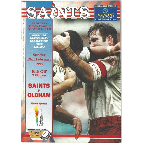 1994/95 St. Helens v Oldham Rugby League programme