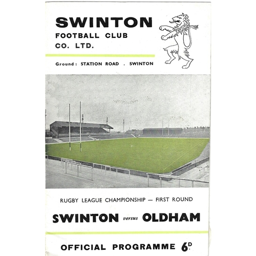 1966/67 Swinton v Oldham Championship 1st Round Rugby League programme