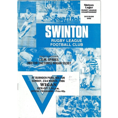 1985/86 Swinton v Wigan Rugby League programme