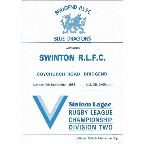 Bridgend Blue Dragons Home Rugby League Programmes