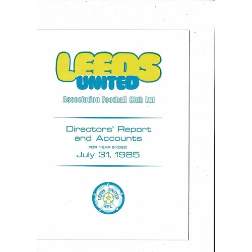 Leeds United Director's Report & Accounts Football Booklet 1985