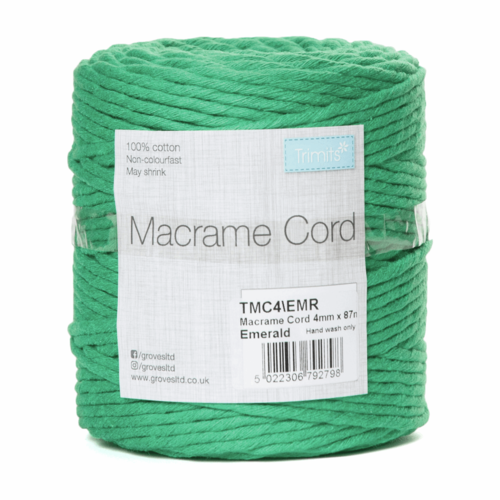 Macramé Cord: 87m x 4mm: 0.5kg: Emerald