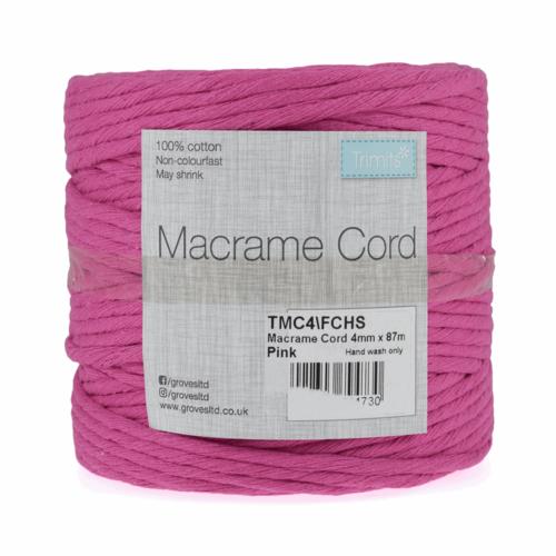 Macramé Cord: 87m x 4mm: 0.5kg: Fuchsia