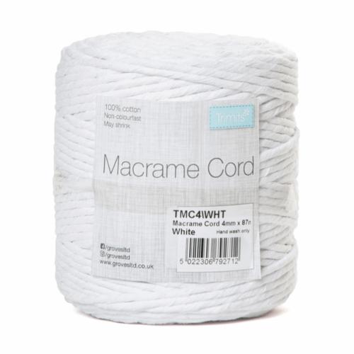 Macramé Cord: 87m x 4mm: 0.5kg: White