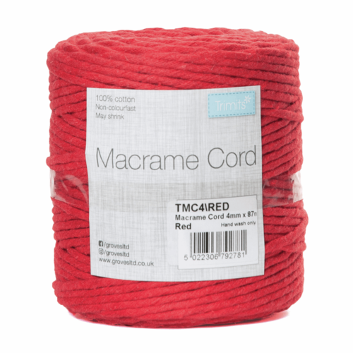 Macramé Cord: 87m x 4mm: 0.5kg: Red