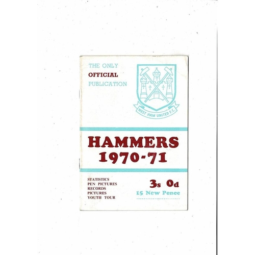 West Ham United Official Football Handbook 1970/71