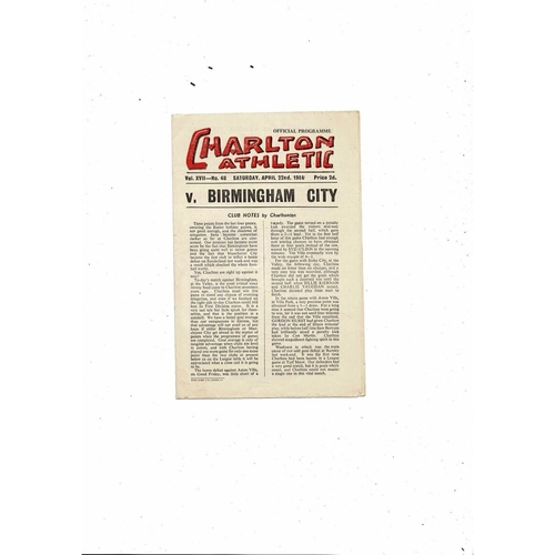 1949/50 Charlton Athletic v Birmingham City Football Programme