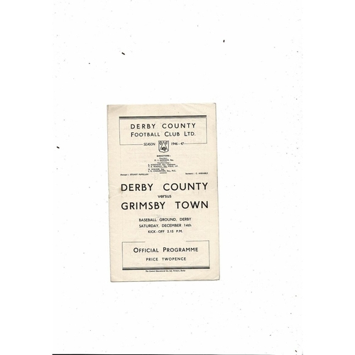 1946/47 Derby County v Grimsby Town Football Programme