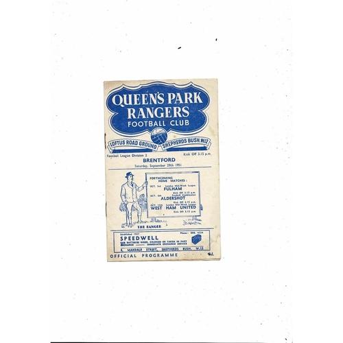 1951/52 Queens Park Rangers v Brentford Football Programme