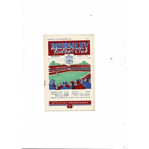 1952/53 Burnley v Sheffield Wednesday Football Programme