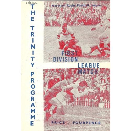 1962/63 Wakefield Trinity v Leeds Rugby League programme