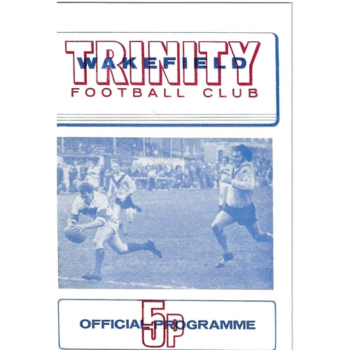 1973/74 Wakefield Trinity v Leeds Rugby League programme & Team Sheet