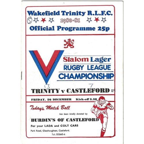1980/81 Wakefield Trinity v Castleford Rugby League programme