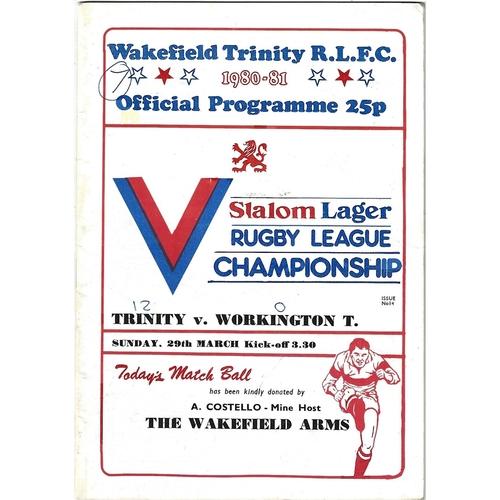 1980/81 Wakefield Trinity v Workington Town Rugby League programme