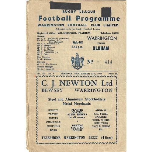 1964/65 Warrington v Oldham Rugby League programme