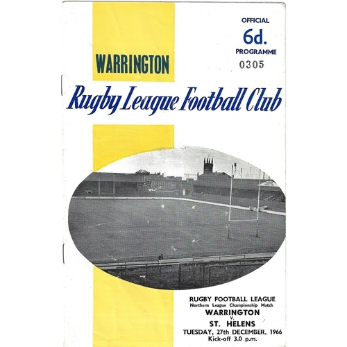 1966/67 Warrington v St. Helens Rugby League programme