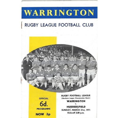 1970/71 Warrington v Huddersfield Rugby League programme