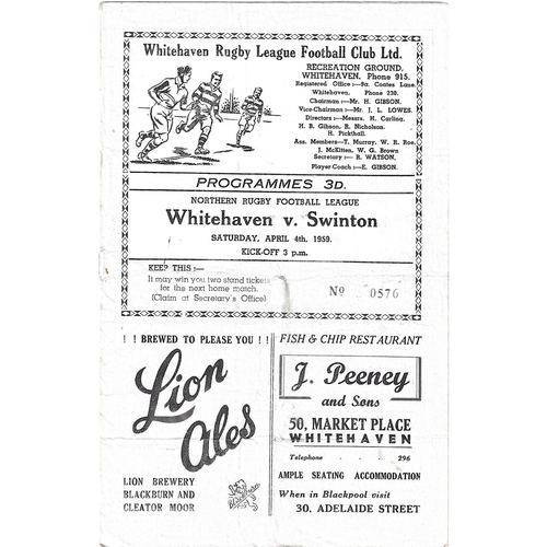 1958/59 Whitehaven v Swinton Rugby League programme